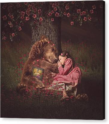 Nap Time With Papa Bear Canvas Print by Kristen Marie