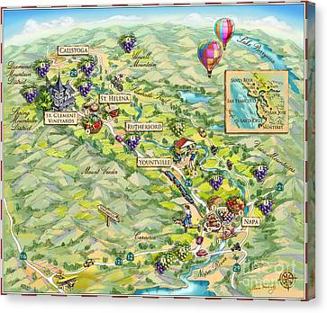 Napa Valley Illustrated Map Canvas Print by Maria Rabinky