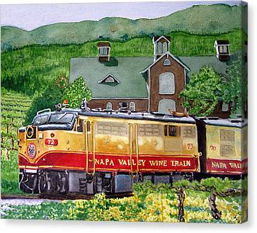 Canvas Print featuring the painting Napa Wine Train by Gail Chandler