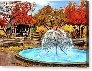 Canvas Print featuring the painting Naperville Dandelion Fountain by Christopher Arndt