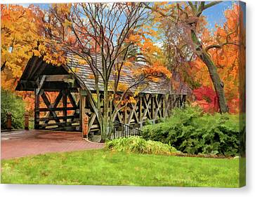 Canvas Print featuring the painting Naperville Riverwalk Covered Bridge by Christopher Arndt