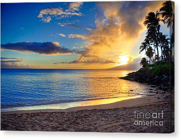 Tropical Sunset Canvas Print - Napili Bay Maui by Kelly Wade