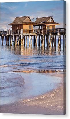 Tropical Beach Canvas Print - Naples Beach Pier by Kim Hojnacki