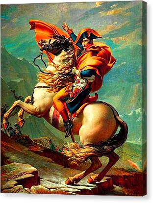 Napoleon At The Saint-bernard Pass Canvas Print by David