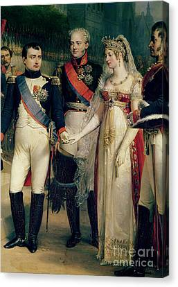 Coy Canvas Print - Napoleon Bonaparte Receiving Queen Louisa Of Prussia by Nicolas Louis Francois Gosse
