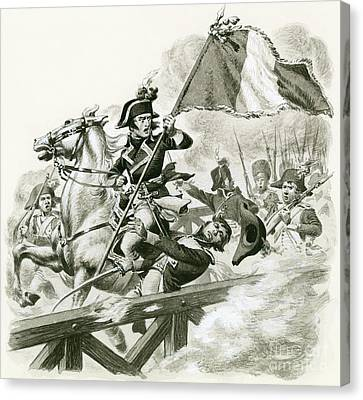 Napoleon Leading His Army Across The Bridge At Lodi Canvas Print
