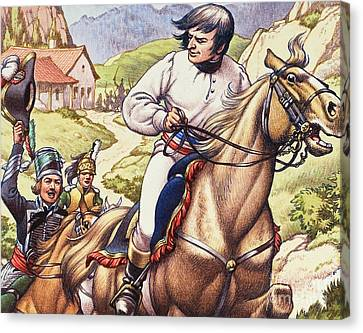 Napoleon Making A Narrow Escape With An Austrian Cavalry Patrol Close On His Heels Canvas Print by Pat Nicolle