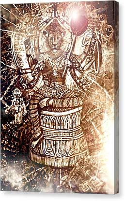 Incarnation Canvas Print - Illuminated Narasimha Dev In Sepia by Michael African Visions