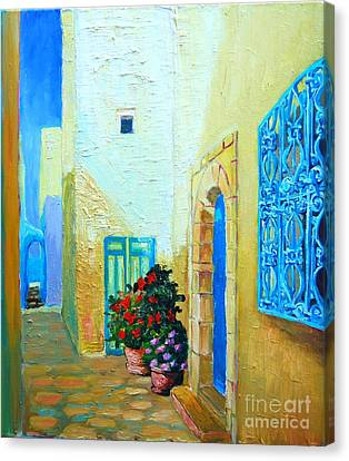 Canvas Print featuring the painting Narrow Street In Hammamet by Ana Maria Edulescu