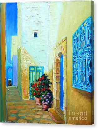 Narrow Street In Hammamet Canvas Print by Ana Maria Edulescu