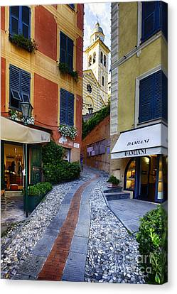 Narrow Street Leading Up To A Church In Portofino Canvas Print by George Oze