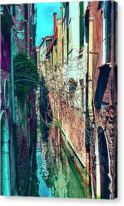 Narrow Water-street Of Medieval Venice Canvas Print by George Westermak