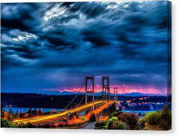 Narrows Bridge Sunset And Lightning Canvas Print