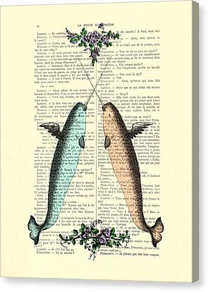 Peaches Canvas Print - Narwhals In Love by Madame Memento