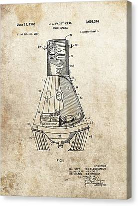 The Universe Canvas Print - Nasa Space Capsule Patent by Dan Sproul