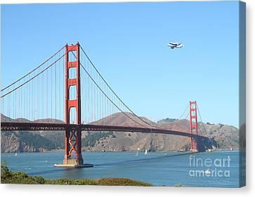 Nasa Space Shuttle's Final Hurrah Over The San Francisco Golden Gate Bridge Canvas Print by Wingsdomain Art and Photography