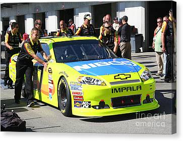 Nascar Inspection 10 Canvas Print by Roger Look