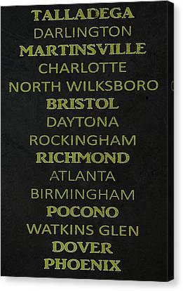 Nascar Track List Canvas Print by Dan Sproul