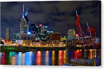 Nashville After Dark Canvas Print by Frozen in Time Fine Art Photography