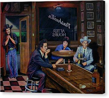 Johnny Cash Canvas Print - Nashville After Hours by Antonio F Branco