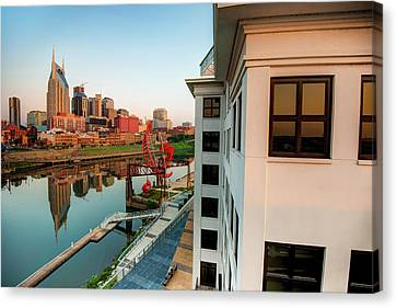 Downtown Nashville Canvas Print - Nashville Along The River by Gregory Ballos