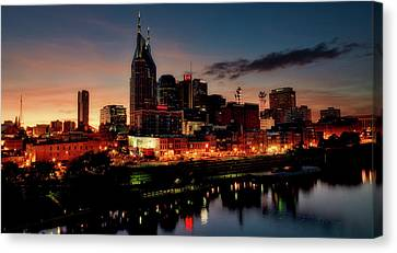 Nashville At Sunset Canvas Print by L O C
