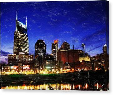 Nashville At Twilight Canvas Print by Dean Wittle