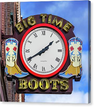 Nashville Big Time Boots Canvas Print by Stephen Stookey