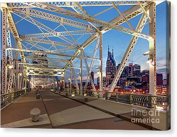 Canvas Print featuring the photograph Nashville Bridge by Brian Jannsen