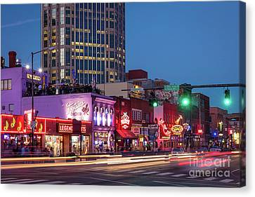Canvas Print featuring the photograph Nashville - Broadway Street by Brian Jannsen