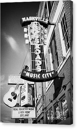 Downtown Nashville Canvas Print - nashville crossroads music city ernest tubbs record shop on broadway downtown Nashville Tennessee US by Joe Fox