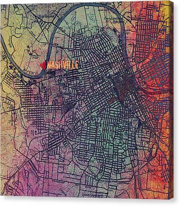 Nashville Heart Map Canvas Print by Brandi Fitzgerald