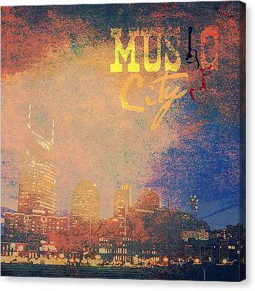 Nashville Music City Canvas Print by Brandi Fitzgerald
