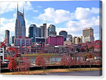 Nashville On The Riverfront Canvas Print by Frozen in Time Fine Art Photography