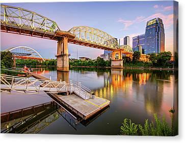 Nashville Tennessee Canvas Print - Nashville Pedestrian And Gateway Bridge At Dusk by Gregory Ballos