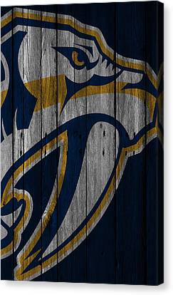 Goalie Canvas Print - Nashville Predators Wood Fence by Joe Hamilton
