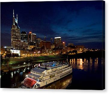 Nashville Skyline And Riverboat Canvas Print by Mark Currier