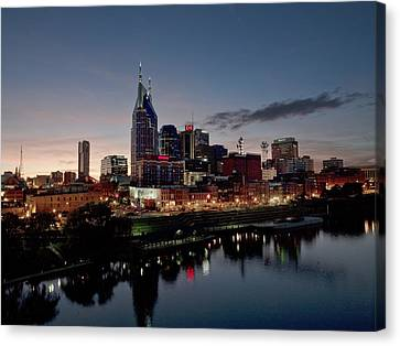 Nashville Tennessee Canvas Print - Nashville Skyline And The Cumberland by Everett