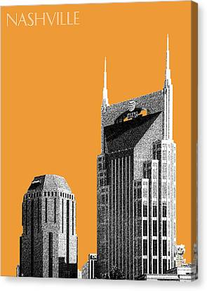 Nashville Skyline At And T Batman Building - Orange Canvas Print