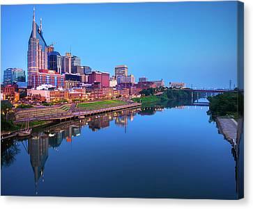 Downtown Nashville Canvas Print - Nashville Skyline At Blue Hour by Gregory Ballos
