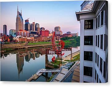 Downtown Nashville Canvas Print - Nashville Skyline At Dawn by Gregory Ballos