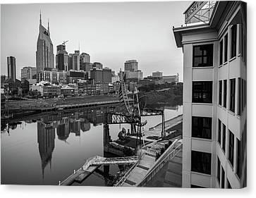 Nashville Skyline At Dawn In Black And White Canvas Print