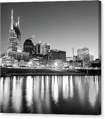 Downtown Nashville Canvas Print - Nashville Skyline At Dusk In Black And White - Square by Gregory Ballos