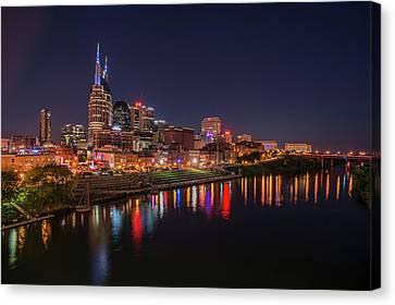 Nashville Tennessee Canvas Print - Nashville Skyline At Night by Jim Pearson