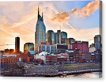 Downtown Nashville Canvas Print - Nashville Skyline At Sunset by Lisa Wooten