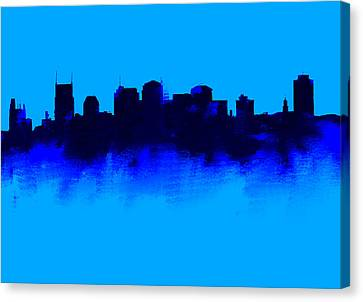 Nashville  Skyline Blue  Canvas Print by Enki Art