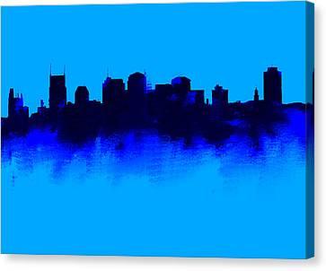 Ben Affleck Canvas Print - Nashville  Skyline Blue  by Enki Art