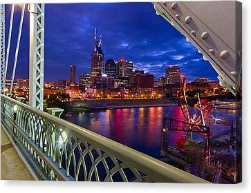 Nashville Skyline From Shelby Bridge Canvas Print by Mike Burgquist