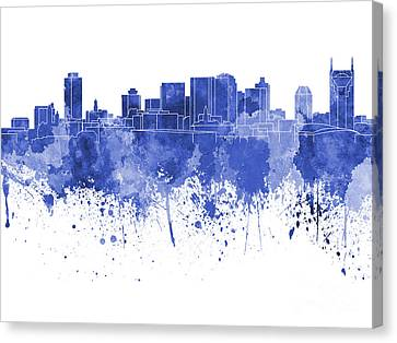 Nashville Skyline In Blue Watercolor On White Background Canvas Print by Pablo Romero