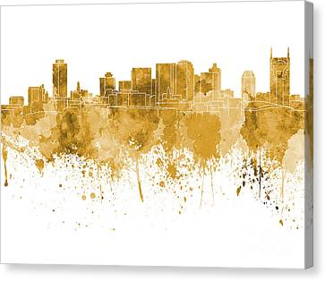 Nashville Skyline In Orange Watercolor On White Background Canvas Print by Pablo Romero